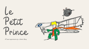 Le Petit Prince Graphic - The prince stands in front of his airplane, a planet in the distance.